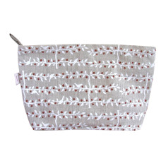 Toiletries bag in espalier white & red