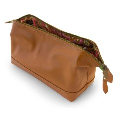 Leather cosmetic bag with green detail