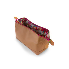 Leather cosmetic bag with floral lining