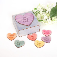 Personalised message love heart tokens box