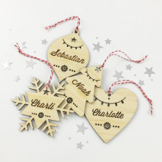Personalised Christmas shape bamboo ornament (various styles)