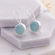 Cupcake Smaller Drops In Silver With Aqua Chalcedony
