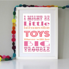 Fun and quirky children's wall art (2 colours available)