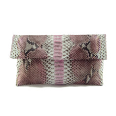 Natural light pink motif python leather classic foldover clutch