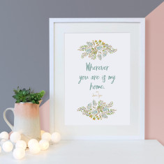 Jane Eyre quote wherever you are is my home floral print