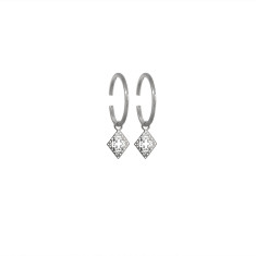 Medium Hoop Earrings with Pendants in Sterling Silver
