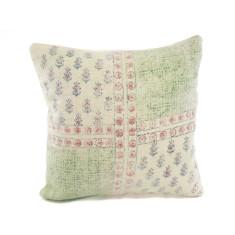 Kilim Collection: Green & Rose Tribal Block Print Cushion