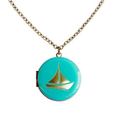 I am not afraid of storms...Engraved Sailboat Vintage Locket
