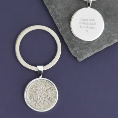 Sixpence Sterling Silver Coin Key Ring 1928 To 1967