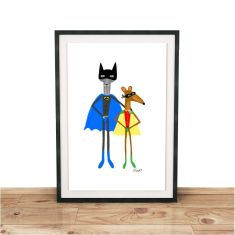 Bat Cat & Robin Rat Giclee print