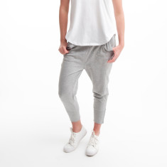 Three Quarter Cotton Zip Pant in Grey Marle