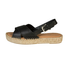 Alohas Black Leather Crossed Strap Sandal