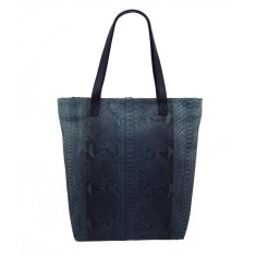 Grey motif python and lambskin leather shopper tote