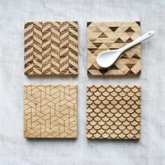 Geometric Engraved Oak Coasters