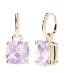 Pink Amethyst Cushion Checkerboard Rose Gold Drop Earrings