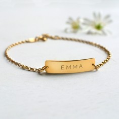 Personalised Gold Little Name Bar Bracelet