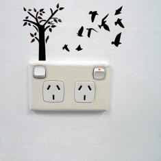 Tree and birds wall sticker for power points
