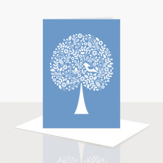 Tree of life greeting card in blue (pack of 8)