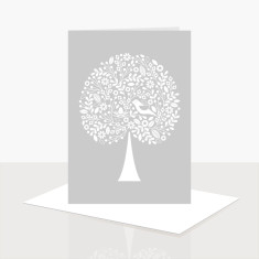 Tree of life greeting card in grey (pack of 8)