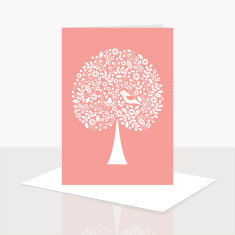 Tree of life greeting card in pink (pack of 8)