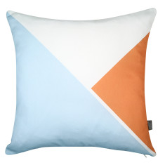 Triangle cushion cover in sky blue/orange