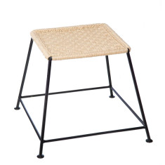 Metal and rope square stool (set of 2)