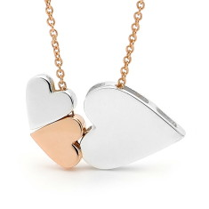 Rose and white gold 3 hearts necklace