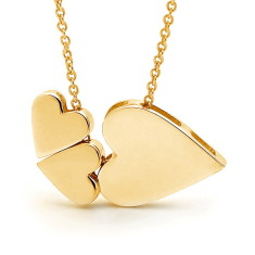 Yellow gold trio of hearts necklace