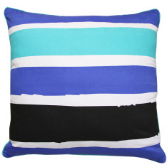 Painted stripe mint cushion cover