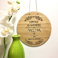 Home is where mum is personalised bamboo wall hanging