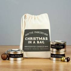 Personalised 'Christmas In A Bag' Scented Candle Set