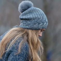 Frosted cableknit Alpaca fur pom pom beanie hat