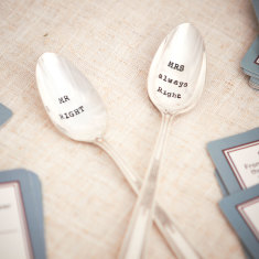 Mr Right And Mrs Always Right vintage tea spoon set