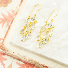 Sofia Multi Pear Drops In Gold Plate