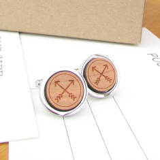 Together forever wooden cufflinks