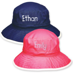 Personalised wide brim bucket hat in blue or pink