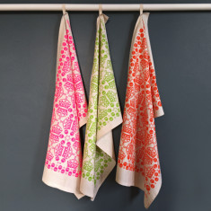Crown and orb pattern tea towels (set of 3)