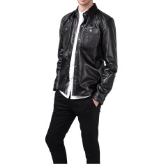 Black BU1 lambskin leather shirt jacket