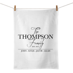 The family personalised tea towel