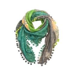 Chloe silk scarf with pompom trim