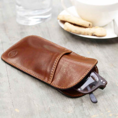 Personalised Rufeno slim Italian leather glasses case