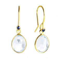 Blue Topaz & Sapphire 18ct Gold Vermeil Hook Earrings