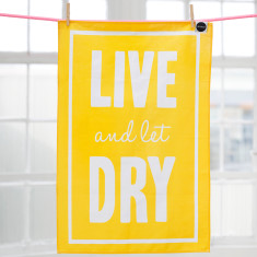 Live and let dry movie buff tea towel