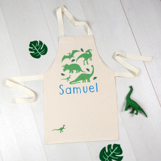 Personalised Apron With Dinosaur Print