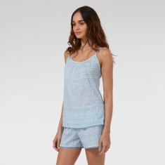 Shorts & Cami Set in Blue Hexagon
