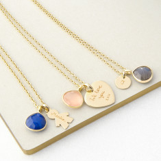 Personalised Gemstone & Mini-Charm necklace (various colours)