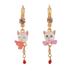 White cats asymmetrical french hook earrings