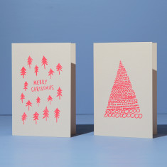 Christmas cards - neon coral on blush (2 card pack)