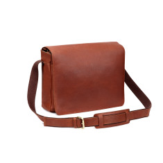 TheCultured Leather Laptop Messenger Bag In Tan