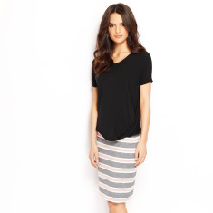 Pencil Skirt Stripe - Charcoal/Ivory/Cement